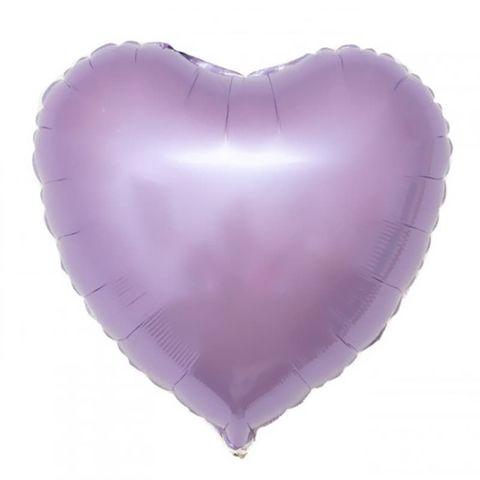 Фольгированный воздушный шар сердце, сиреневый, 46 см