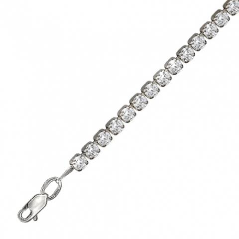 01Б151062- Теннисный браслет-дорожка из серебра с фианитами