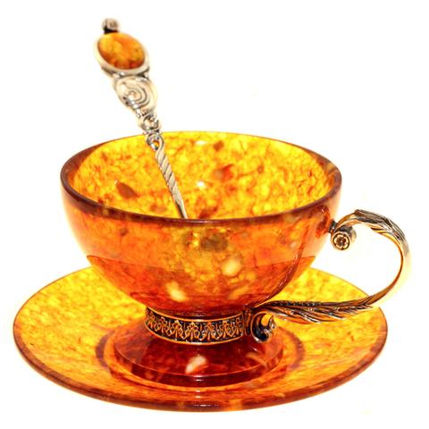 Чайный набор из янтаря с ложкой