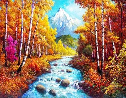 Алмазная Мозаика 40x50 Корная река среди осенней природы (арт. S2861)