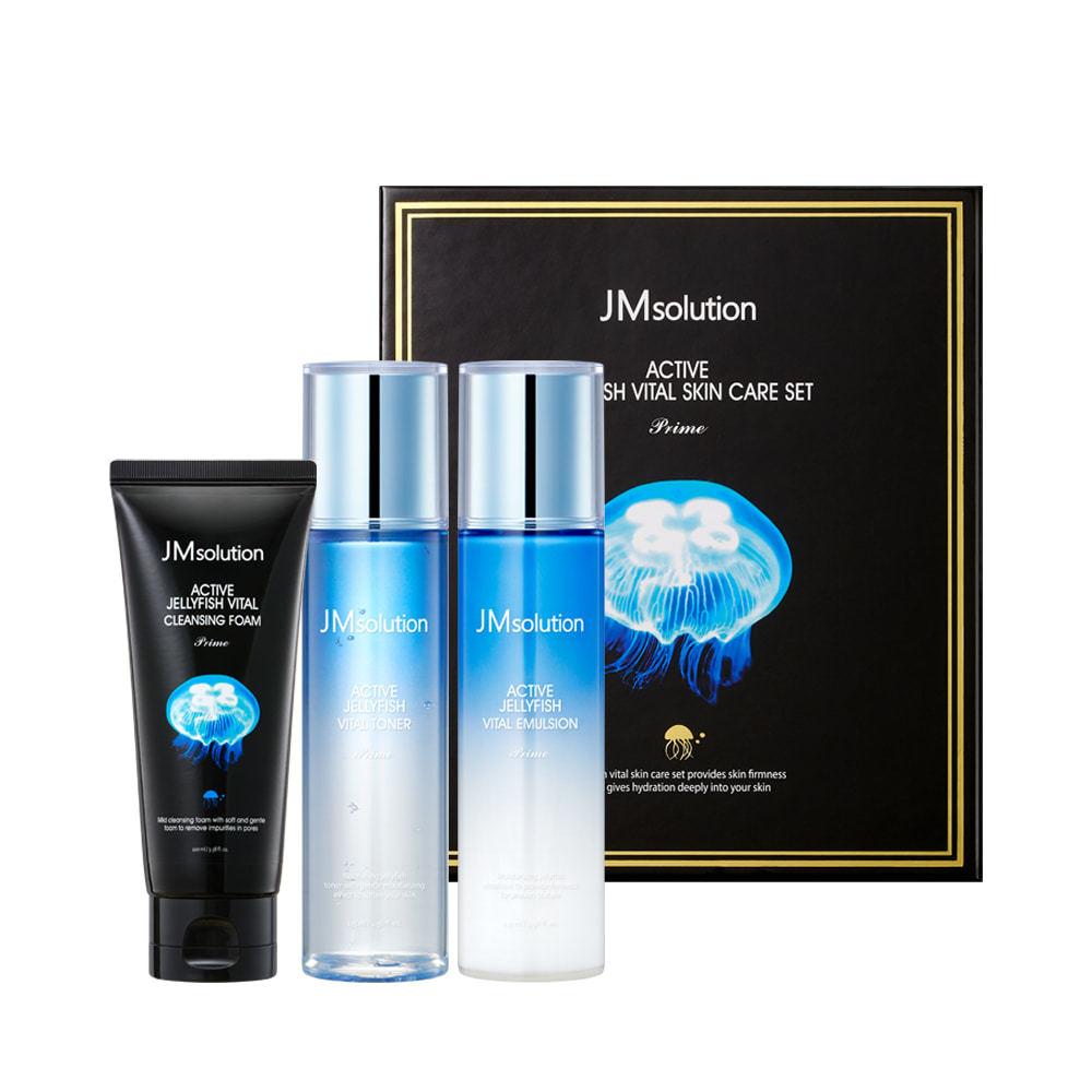 Набор для кожи лица тонер, эмульсия и пенка с экстрактом медузы ACTIVE JELLYFISH VITAL SKIN CARE SET Prime