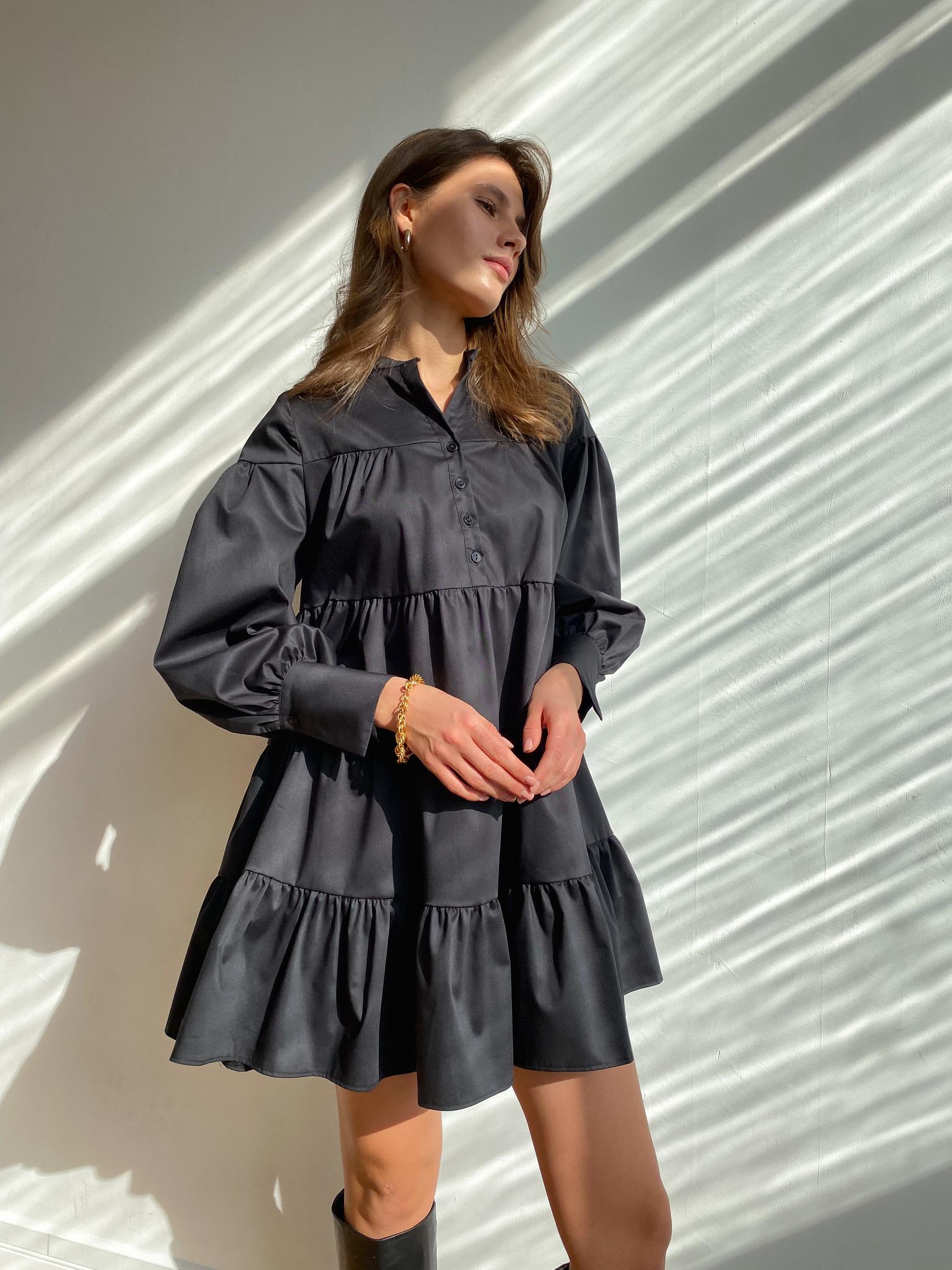 Платье ярусное мини из хлопка (черный)