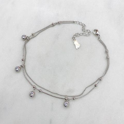 Анклет двурядный с круглыми цирконами и бусинками (серебристый)