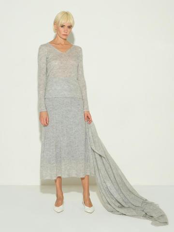 Женский шарф серого цвета из мохера и шерсти - фото 3