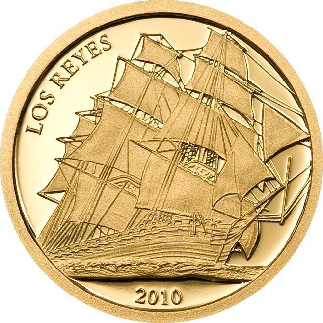Золотая монета  2010 года выпуска  Тувалу 2 доллара Лос-Рейес, AU-999, 1,134 гр. Диам. 13,92 мм, тираж 15000, Proof.