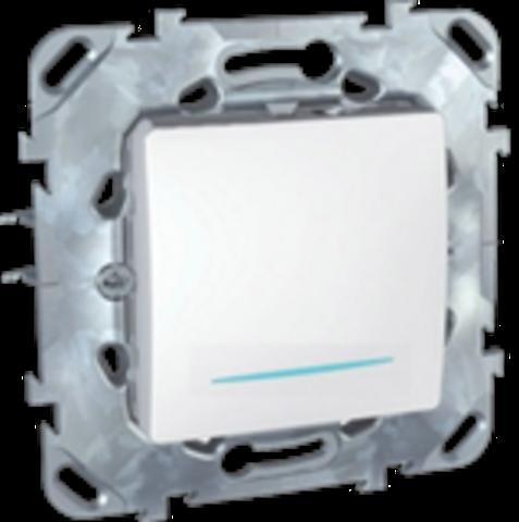 Выключатель кнопочный одноклавишный с подсветкой - Кнопка звонка - Выключатель без фиксации с подсветкой . Цвет Белый. Schneider electric Unica. MGU5.206.18NZD