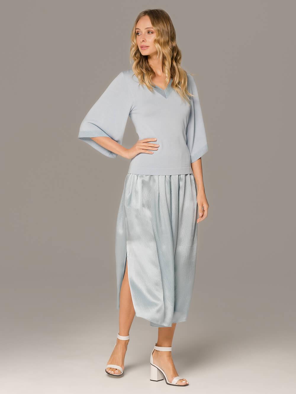 Женская юбка голубого цвета из 100% шелка - фото 1