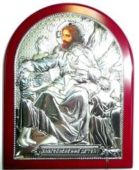 Серебряная икона Благословение детей 16х12см