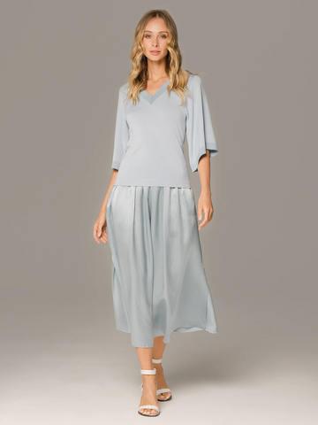 Женская юбка голубого цвета из 100% шелка - фото 2
