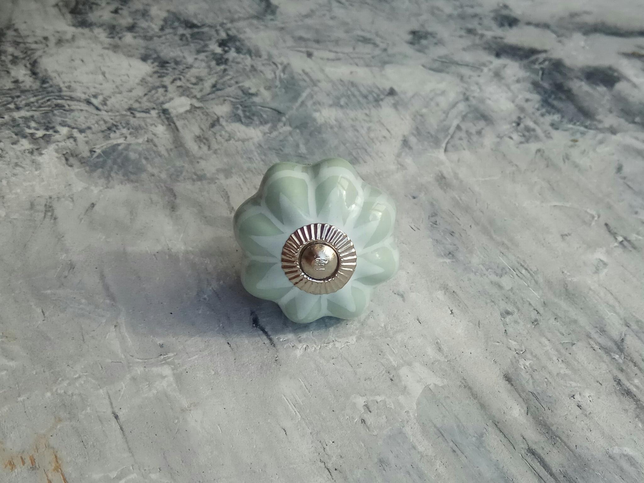 Ручка мебельная керамическая мятная с цветочным орнаментом, арт. 00001094