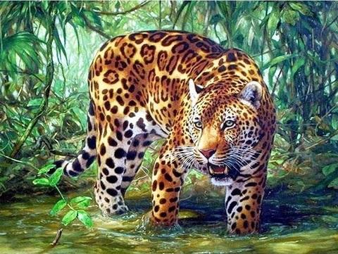 Алмазная Мозаика 30x40 Ягуар на охоте (Арт. SEG74842 )