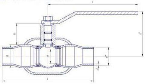 Конструкция LD КШ.Ц.П.GAS.025.040.П/П.02 Ду25