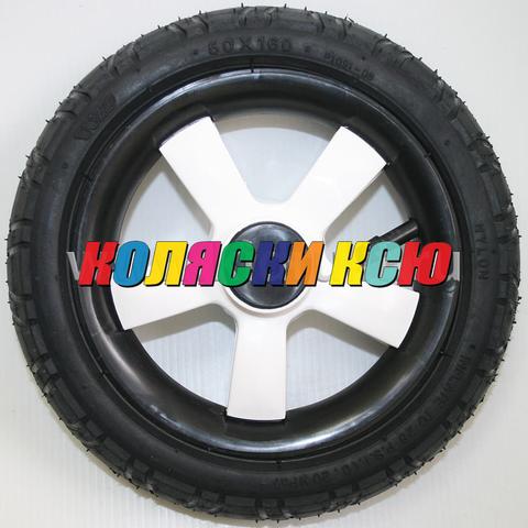 Колесо для детской коляски №006015-W надув 10 дюймов (50x160) (втулка на ось 10мм) БЕЛЫЙ (CAMARELO, INDIGO, CAMILA)