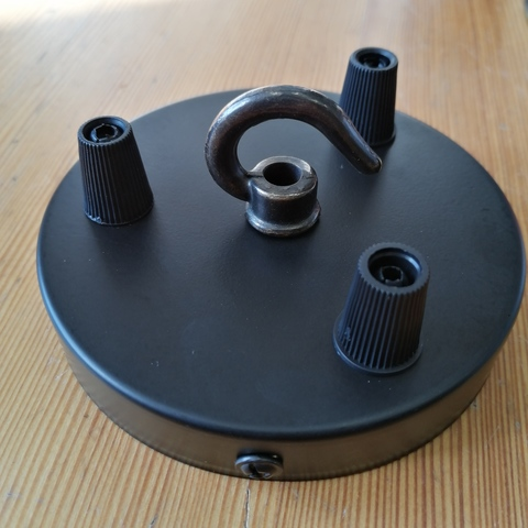 Чашка потолочная на 3 вывода с крюком (черный)