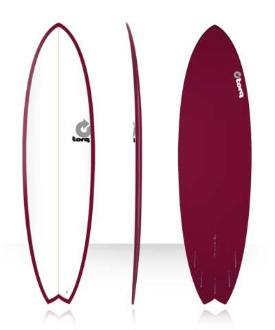Серфборд TORQ 7'2'' Fish - Color Pinline (white deck/burgundy/pinline)
