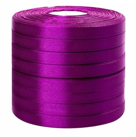 Лента атласная в уп. 8 шт. (размер: 10 мм х 50 ярд) Цвет: фиолетовая