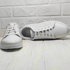Перфорированные кроссовки женские белые Evromoda 141-1511 White Leather.