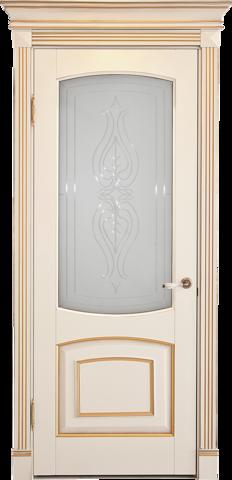 Дверь Лидер-Альверо Елена (беленый бук, остекленная, массив бука)