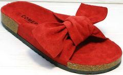 Стильные женские сандалии шлепки на корковой подошве Comer SAR-15 Red.