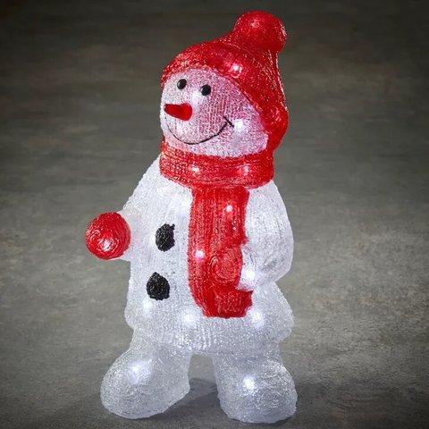 Снеговик в красной шапке и шарфе для наружного и внутреннего использования