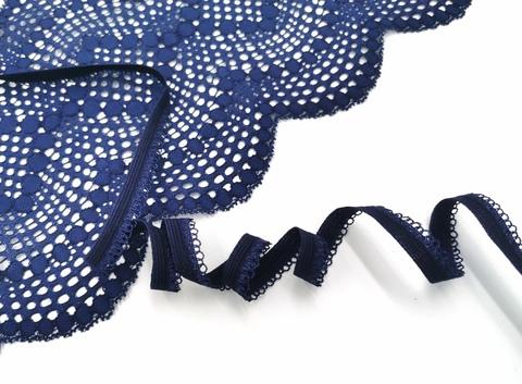 _Ажурная резинка, ОПТ,  11 мм, темно-синяя, (арт: К264/11-061), 50 м