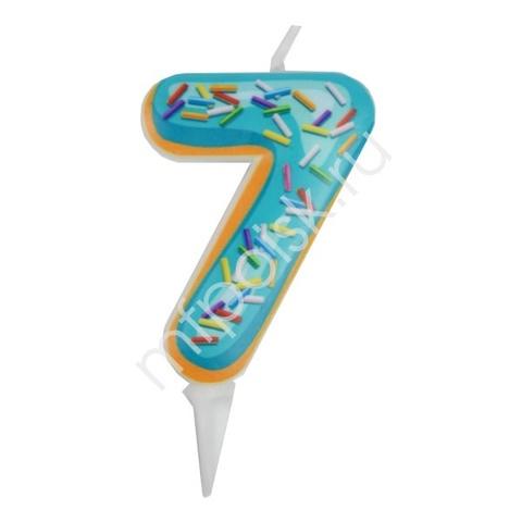 Свеча Цифра 7 Пончик 6 см