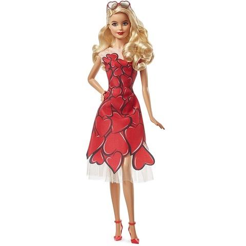 Барби Праздничная кукла в платье с красными сердцами