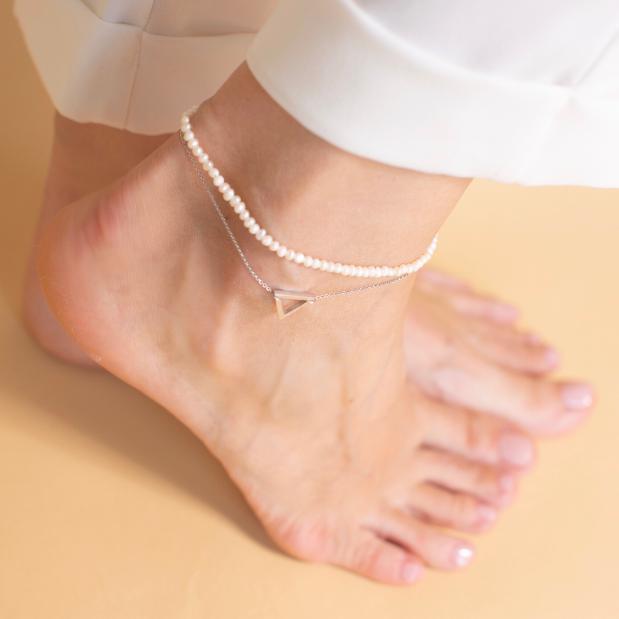 Серебряный браслет на ногу с культивированным жемчугом