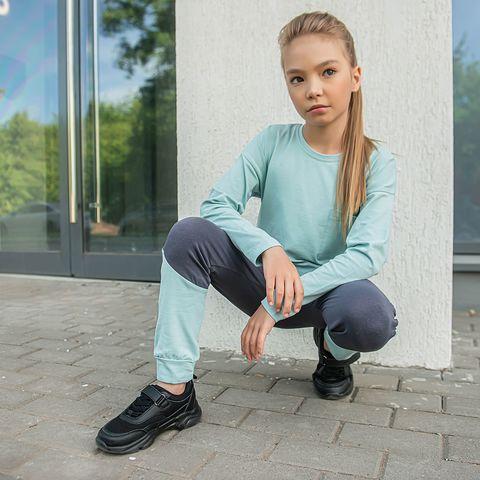Color Block leggings for teens - Graphite/Sea Blue