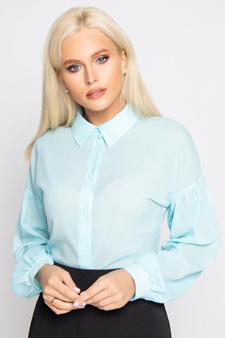 <p><span>Стильная, эффектная, офисная блузка. Длинный рукав на манжете, отрезной, по линии ниже плеча на сборке. Ворот на стойке. По переду планка с пуговицами.</span></p>