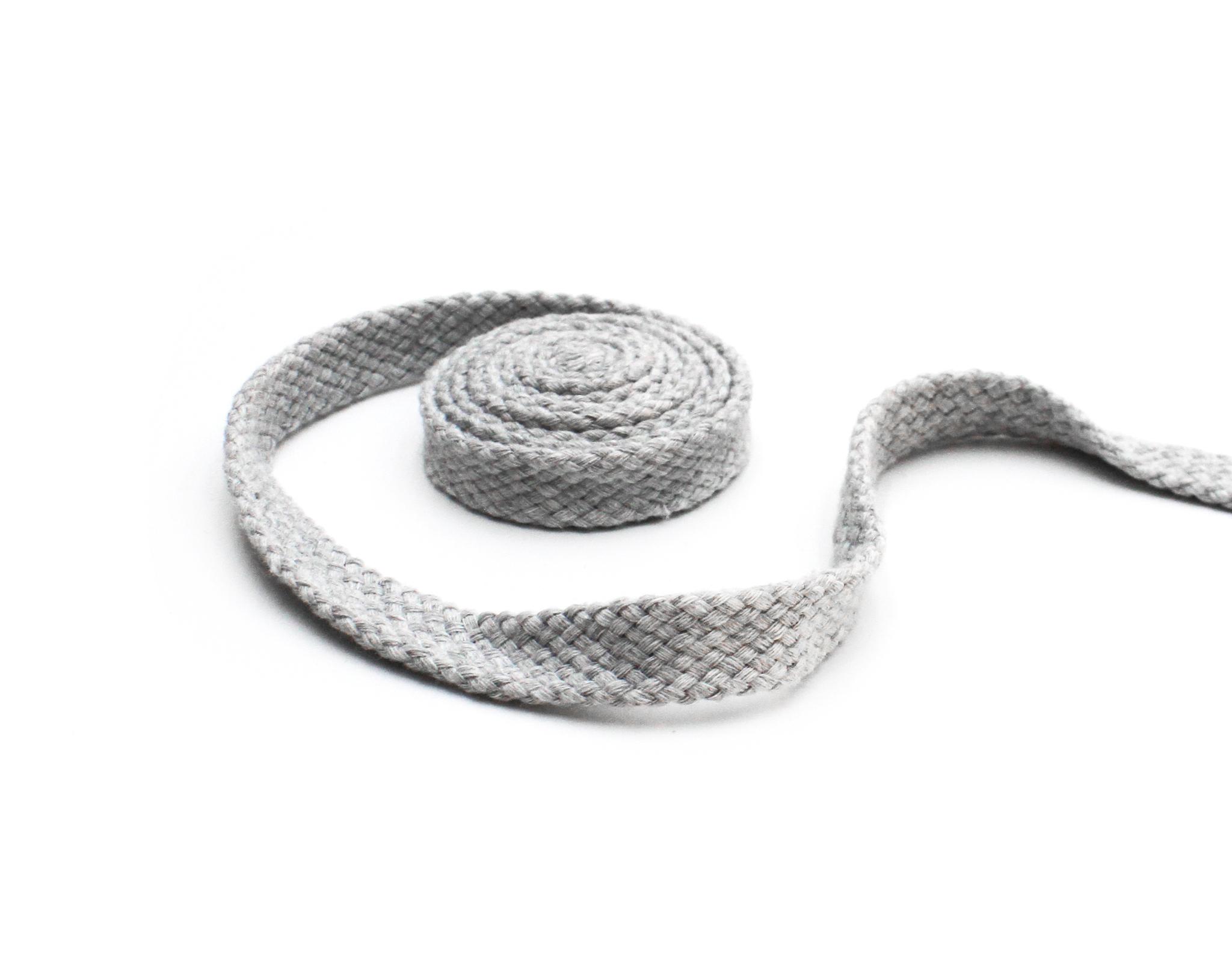 Шнур плоский,15 мм,х\б,св. серый