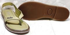 Красивые женские босоножки сандали на плоской подошве Evromoda 454-411 Olive.