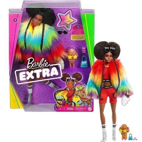Барби Экстра 1 Афро-брюнетка в Меховой Радужной Шубе с Пуделем