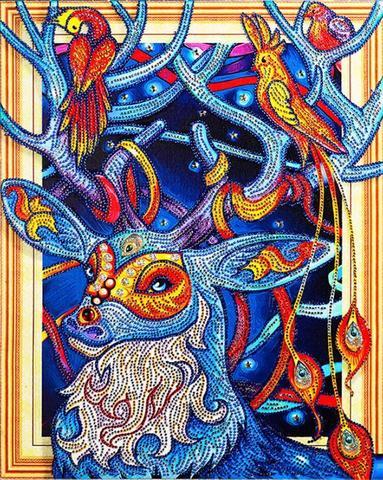 Алмазная Мозаика 5D 40x50 Олень и птицы