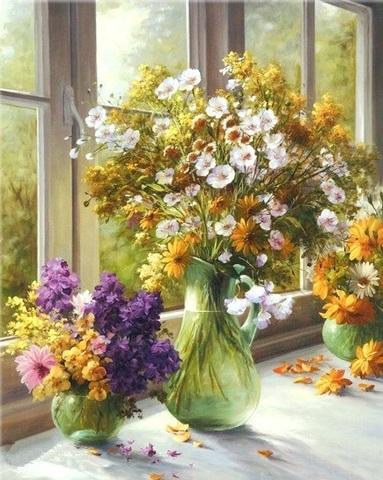 Алмазная Мозаика 40x50 Букеты цветов у окна (арт. TC8453 )