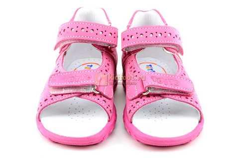 Босоножки Тотто из натуральной кожи с открытым носом для девочек, цвет розовый. Изображение 5 из 12.