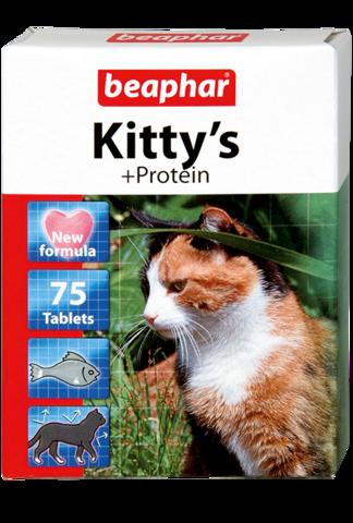 Beaphar Кормовая добавка Kitty's + Protein с протеином для кошек 75 таб.
