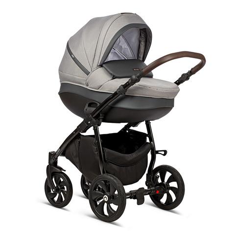 Коляска TUTIS NANNI 2в1 2019 надувные колеса,Серый + Кожа Тем.Серый