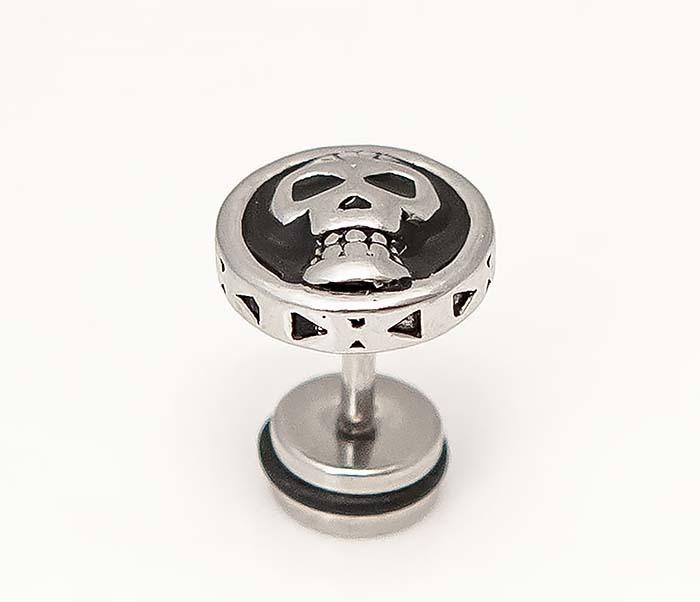 ER473-1 Мужские стальные серьги с черепом фото 04