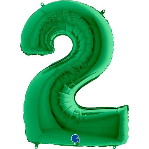 Шар цифра зеленая 2