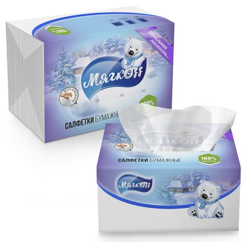 Салфетки бумажные Мягкоff 15.5x22 см белые 2-слойные 100 штук в упаковке