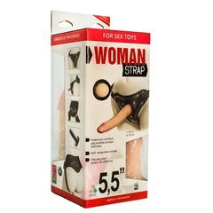 Женский страпон с вагинальной пробкой из неоскина