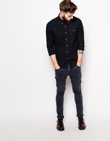Черная рубашка-оксфорд в крапинку с длинными рукавами
