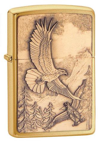 Зажигалка Zippo Where Eagles Dare Emblem № 20854 с покрытием Brushed Brass, латунь/сталь, золотистая123