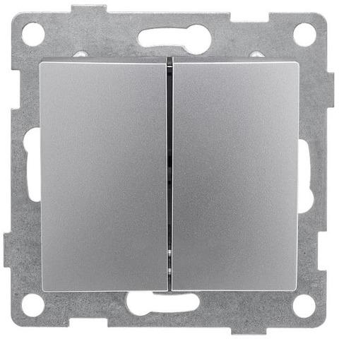 Выключатель двухклавишный, 10 А 220/250 В~. Цвет Серебро. Bravo GUSI Electric. С10В2-004