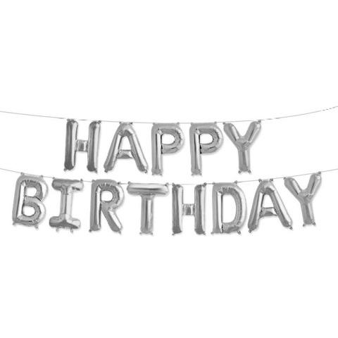 Растяжка из шаров: Буквы из фольги - С днем Рождения, Happy Birthday, серебро