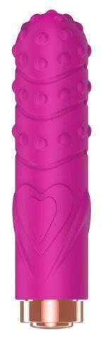 Ярко-розовая рельефная вибропуля Je Taime Silky Touch Vibrator - 9,4 см.
