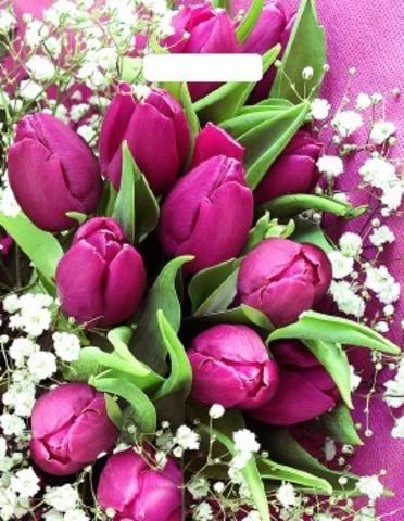 Полиэтиленовый пакет ПЭ с вырубной ручкой 31х40 (60) Т ламинация Розовые тюльпаны