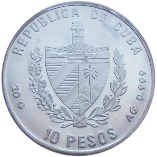 10 песо. Жёлтый окунь. Куба. Серебро. 1996 год