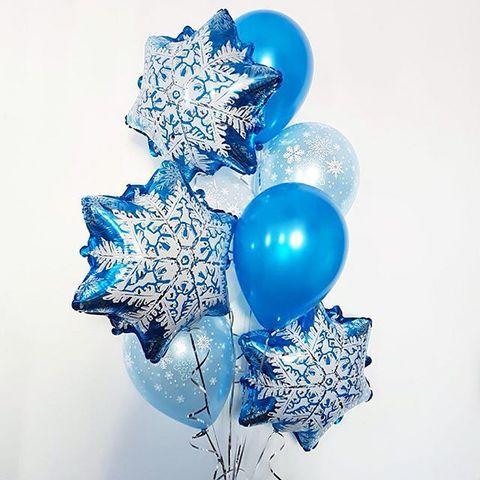 Новогодний сет шаров со снежинками